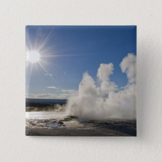 USA, Wyoming, Sun over steaming thermal pool 15 Cm Square Badge