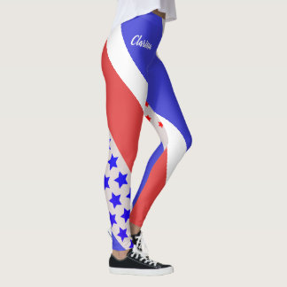 USA (Your Name) PALE TONE RED WHITE & BLUE Leggings