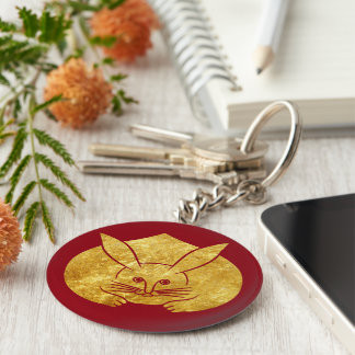 Usagi kamon japanese rabbit in faux gold on red basic round button key ring