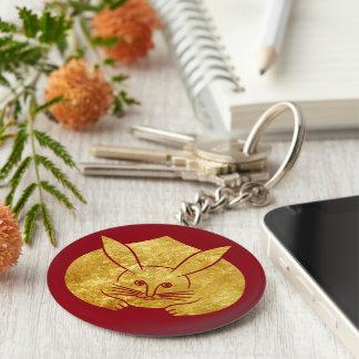 Usagi kamon japanese rabbit in faux gold on red key ring
