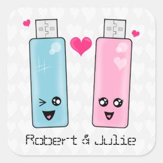 USB Flash Drive Love Square Sticker