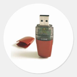 USB Flash pen Round Sticker