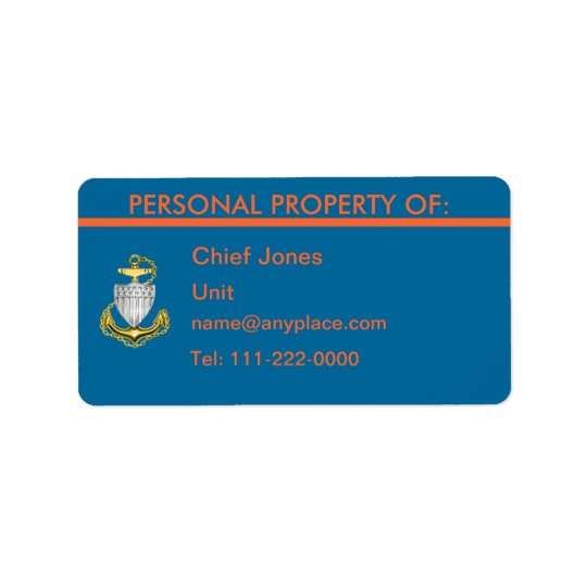 USCG CPO Personal Property Label