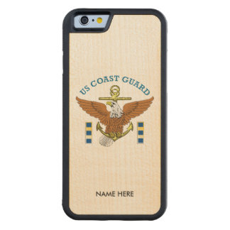 USCG CWO2 Eagle Anchor Carved Maple iPhone 6 Bumper Case