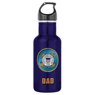 USCG Dad Custom Water Bottle