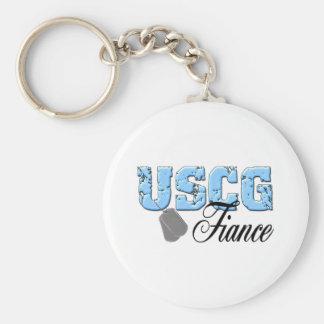 USCG Fiance Basic Round Button Key Ring