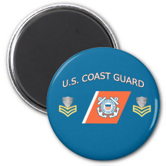 USCG Petty Officer First Class Racing Stripe 6 Cm Round Magnet