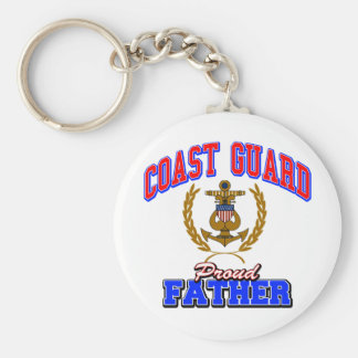 USCG Proud Father Basic Round Button Key Ring