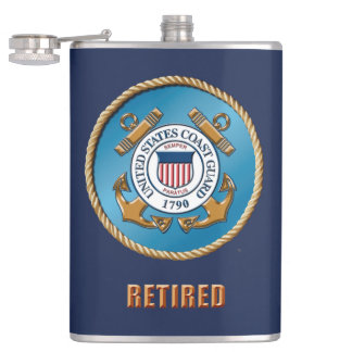 USCG Retired Vinyl Wrapped Flask
