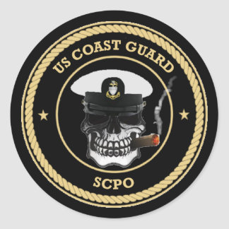 USCG Senior Chief Petty Officer Skull Classic Round Sticker