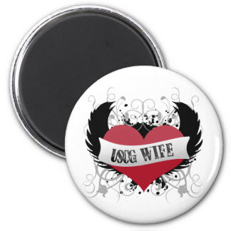 USCG Wife - Rock Star Style 6 Cm Round Magnet