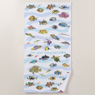 Use Your ImaginOCEAN Cartoon Fish Beach Towel