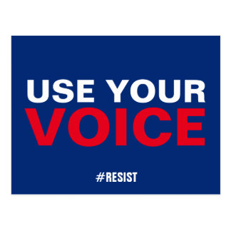 Use Your Voice Resist Persist Red White Blue Postcard