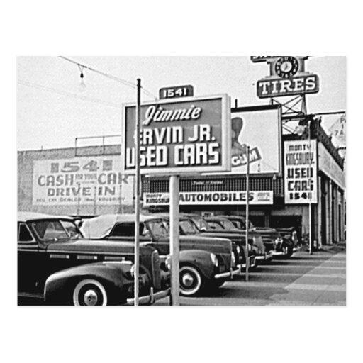 Used Car Lot Vintage Hollywood California Postcard