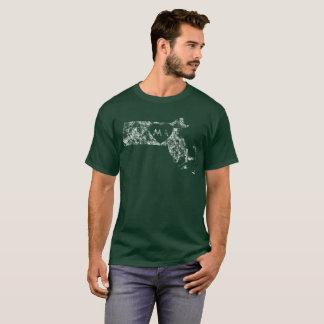 Used I Love Massachusetts State Men's Dark T-Shirt