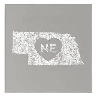 Used I Love Nebraska State Acrylic Wall Art