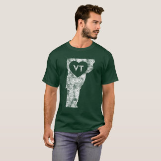 Used I Love Vermont State Men's Basic Dark T-Shirt