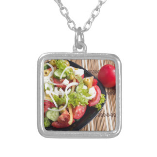 Useful and natural vegetable salad of tomato silver plated necklace