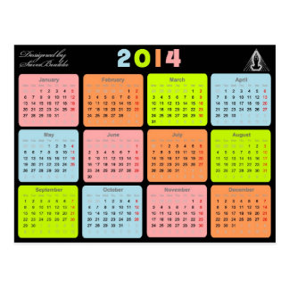 Useful gift with calendar for 2014 postcard
