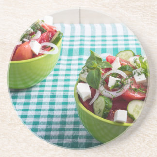 Useful vegetarian food from raw tomatoes, cucumber beverage coaster