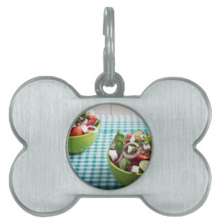 Useful vegetarian food from raw tomatoes, cucumber pet name tags
