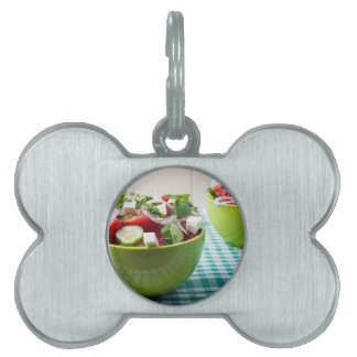 Useful vegetarian food from raw tomatoes, cucumber pet tag