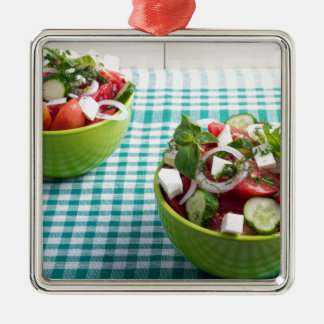 Useful vegetarian food from raw tomatoes, cucumber Silver-Colored square decoration