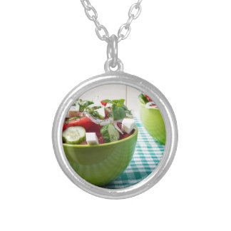 Useful vegetarian food from raw tomatoes, cucumber silver plated necklace