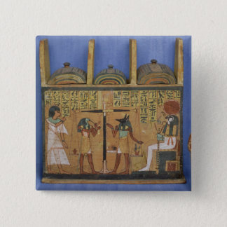 Ushabti casket with a scene of psychostasis 15 cm square badge