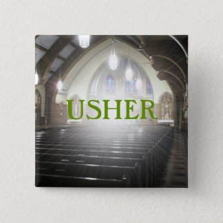USHER 15 CM SQUARE BADGE