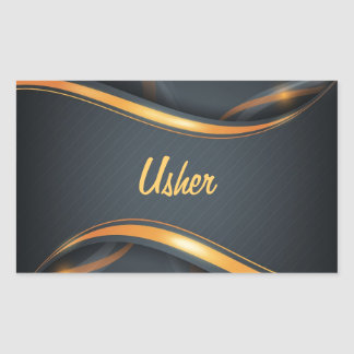 Usher (bl/gd) rectangular sticker