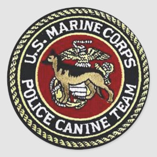 USMC CANINE UNIT ROUND STICKER
