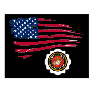 USMC Emblem and US Flag Postcard