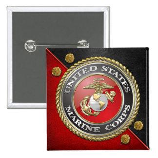 USMC Emblem Uniform 3D Pinback Button