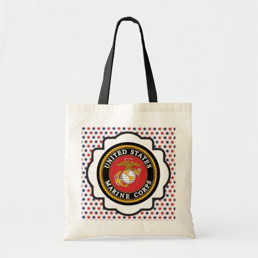 USMC Emblem with Red, White and Blue Stars Canvas Bags