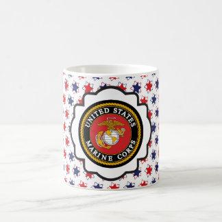 USMC Emblem with Red, White and Blue Stars Basic White Mug