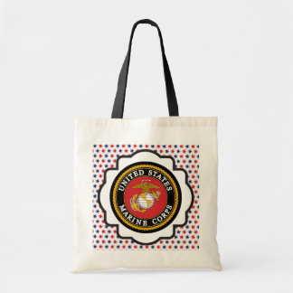 USMC Emblem with Red, White and Blue Stars Budget Tote Bag