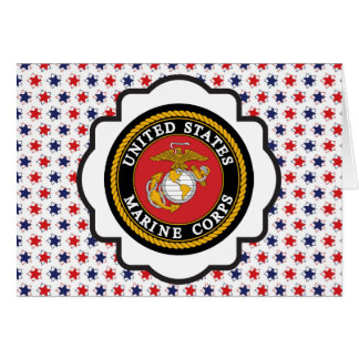 USMC Emblem with Red White and Blue Stars Greeting Card