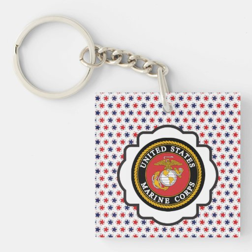 USMC Emblem with Red, White and Blue Stars Acrylic Key Chains