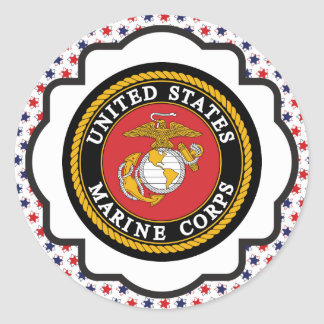 USMC Emblem with Red, White and Blue Stars Round Sticker
