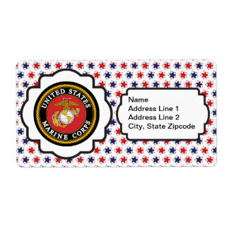 USMC Emblem with Red, White and Blue Stars Shipping Label