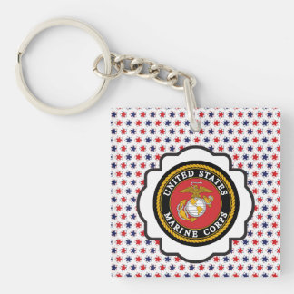 USMC Emblem with Red, White and Blue Stars Single-Sided Square Acrylic Key Ring
