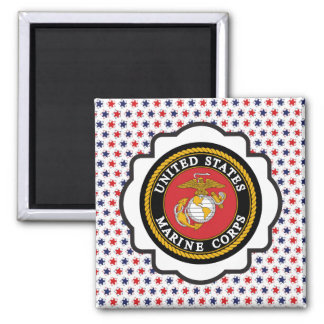 USMC Emblem with Red, White and Blue Stars Square Magnet