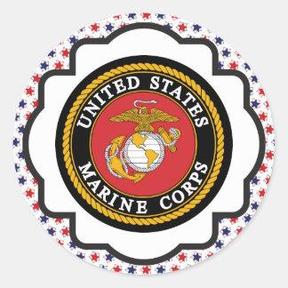 USMC Emblem with Red, White and Blue Stars Round Sticker