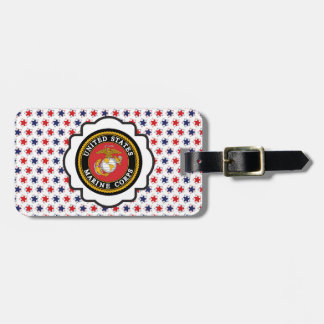 USMC Emblem with Red, White and Blue Stars Travel Bag Tag