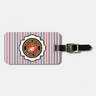 USMC Emblem with Red, White and Blue Stripes Bag Tags
