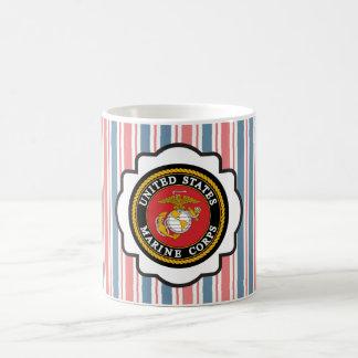 USMC Emblem with Red, White and Blue Stripes Basic White Mug