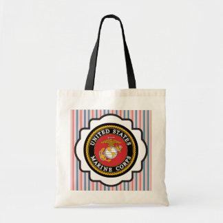 USMC Emblem with Red, White and Blue Stripes Budget Tote Bag