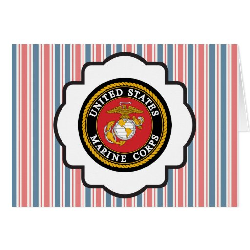USMC Emblem with Red, White and Blue Stripes Card