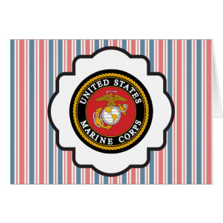 USMC Emblem with Red, White and Blue Stripes Greeting Card